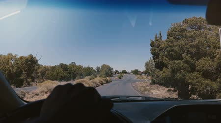 yönlendirmek : Beautiful view from behind car steering wheel, driving on desert road into parking lot in summer American national park. Stok Video