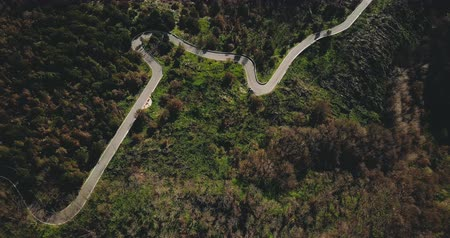 serpentine : Drone flying over amazing mountain winding road. Aerial top view shot of peaceful forest trees and serpentine roadway 4K