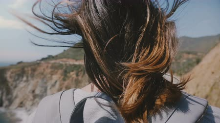 keskeny kilátás : Back view of young tourist woman with hair flying in strong wind watching epic scenery at Bixby Canyon bridge, Big Sur. Stock mozgókép