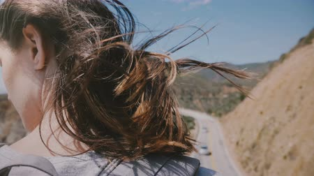 sea breeze : Close-up back view shot of young tourist woman with hair flying in strong wind enjoying view at Bixby bridge, Big Sur.