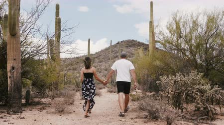 новобрачный : Slow motion back view young newlywed tourist couple walk holding hands at incredible cactus desert national park Arizona