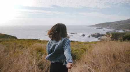positive vibes : Camera follows young woman walking down on Big Sur ocean coast covered with yellow flowers, smiling cheerfully at camera Stock Footage