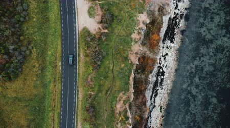 latarnia morska : Top view, drone zooms in tracking black SUV car driving on autumn road trip near beautiful eroded sea shore coastline.