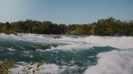 raging : Majestic view of epic rushing river water waves of the Niagara and lush green trees on the bank under clear summer sky.