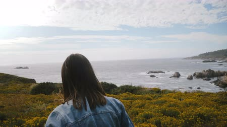 positive vibes : Camera follows young happy woman walking on yellow flower bushes towards amazing rocks on Big Sur ocean coastline.