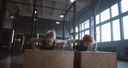 femminismo : Slow motion two young beautiful female athletes working out, doing push-ups and clapping together in atmospheric gym. Filmati Stock