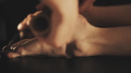 Relaxing massage of beautiful womans feet Stock Footage