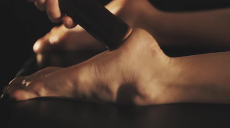 Relaxing massage of beautiful womans feet Wideo