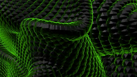 Green Black abstract waves background