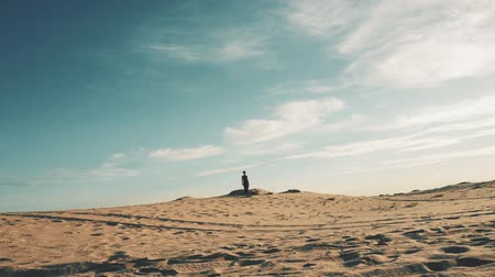 dune : Young beautiful woman walking in desert landscape Stock Footage