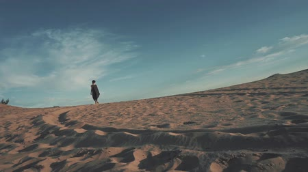 Young beautiful woman walking in desert landscape Стоковые видеозаписи