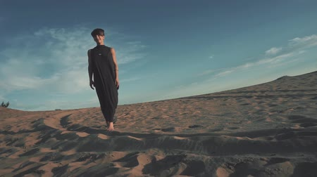 Young beautiful woman walking in desert landscape 動画素材