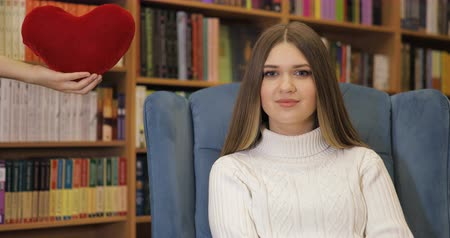 felling : Brown-haired young women fell in love, in white sweater on blue armchair, library background. Valentines Day