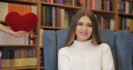 felling : Brown-haired young women fell in love, in white sweater on blue armchair, library background. Valentines Day.