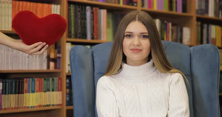 peluş : Brown-haired young women fell in love, in love in white sweater on blue armchair, library background. Valentines Day.