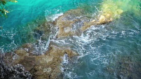 blight : Sea waves washing up shore stones Stock Footage