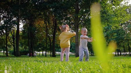 Cute little kids brother and sister having fun and jumping on the lawn in the park on a warm summer day. The concept of childish naivety and kindness. Full hd 1080 dolly shot