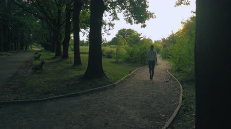назад : The girl in a green jacket riding dirt path in old park and goes back on the tracks between the trees.