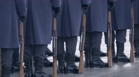 commando : Soldiers in blue uniforms and black boots, holding a gun and standing in a line. 4k video Stock Footage