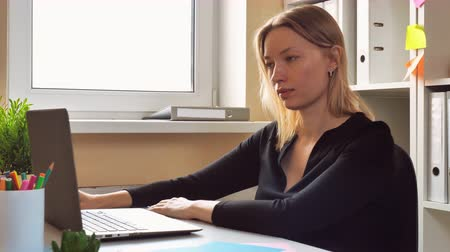 victorious : entrepreneur reading good news on screen laptop. happy woman showing positive emotions about win. successful worker celebrate victory Stock Footage