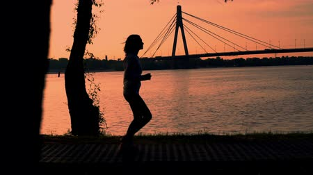 buldog : silhouette woman running near river. beautiful landscape bridge over river. runner wearing sportswear hoodie and sneakers Wideo