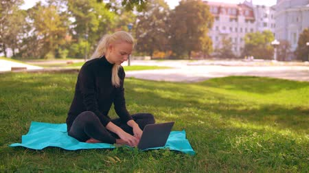 netbook : young caucasian woman with blond long hair typing on laptop sitting on the lawn with green grass. on the background sunny cityscape