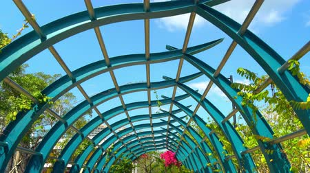 Blue arch above the park alley. Sunny day within natural green cityscape. Vídeos