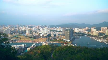 amalfitana : View Of Seaside City From Cliff, China. Modern Buildings.Amazing Green Nature.
