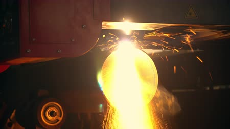 fire facilities : welding at the industrial production by heating the surfaces to the point of melting Stock Footage
