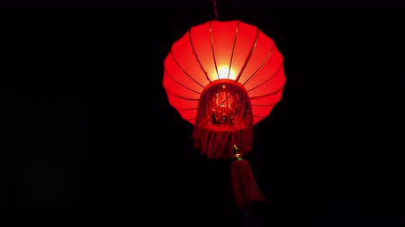 daoism : Red Chinese Lantern On Dark Background. Shivering Of Wind. Celebration Concept. Culture Festival Element.