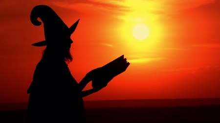 hag : halloween concept sorceress wearing fancy dress and hat opening spellbook view on the sky with upward sun