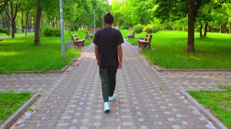 city park : back view hipster guy walking on the street. man wearing bright sneakers walks in the city