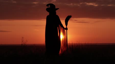 czary : witch holding broom looking on the amazing red sky with orient sun standing on the hill Wideo