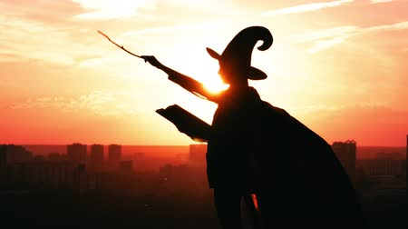 capote : silhouette woman in hat and fluttering cloak holding big magic book and wand outdoors view on amazing orange sky halloween concept Archivo de Video