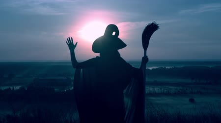 hallows : sorceress in hat and cloak holding besom raising hands on the field view on evening blue sky halloween holiday