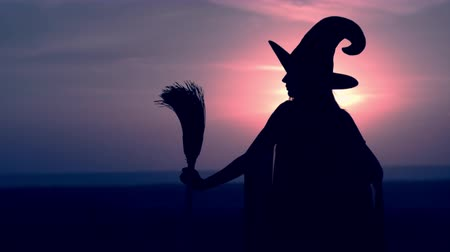 hag : side view evil sorceress holding besom posing move head in hat view on night blue sky halloween holiday