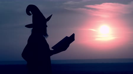 hag : woman in a witch costume holds magic book conjures outdoors view on night blue sky Stock Footage