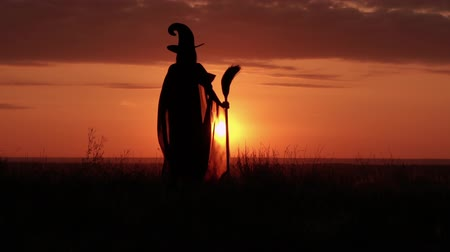 besom : woman in halloween costume sorceress holding besom cloak fluttering in the wind standing on the hill sky with yellow sun