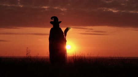 besom : woman in halloween costume sorceress holding besom raising hands standing on the hill sky with yellow sun slow motion