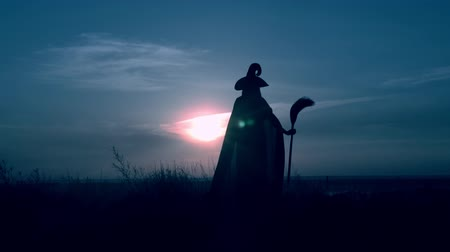hag : evil sorceress in hat holding besom standing on the field view on evening blue sky halloween holiday Stock Footage