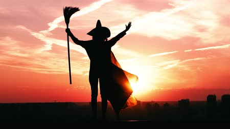 süpürge : silhouette woman in hat and holding broom raising hand in city view on sky at sunrise halloween outdoors concept