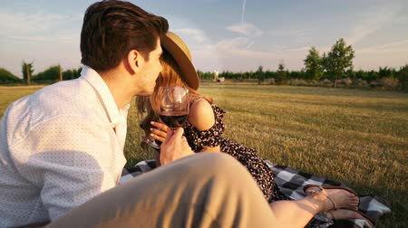 любовь : Young happy loving couple sitting outdoors in the field drinking wine talking with each other Стоковые видеозаписи
