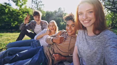 universität : Group of happy multiethnic students having fun together and making selfie while sitting outdoors in park Videos