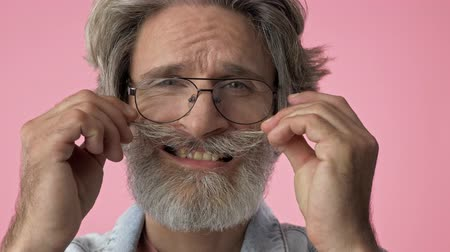 grimacing : Close up view of smiling elderly stylish bearded man with gray hair in denim jacket touching his mustache and grimacing while looking at the camera over pink background isolated Stock Footage