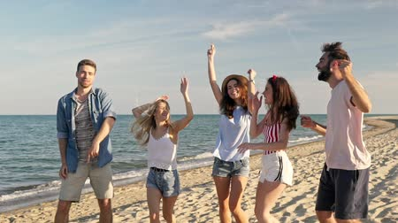 regozijo : Group of young rejoicing friends dancing while having fun together at the seaside Stock Footage