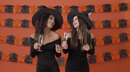 mascarada : Attractive happy young witch women in black halloween costumes dancing and clinking glasses with champagne over orange pumpkin wall