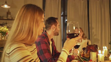 hrdý : Positive friends holding glasses of red wine while celebrating christmas eve at home