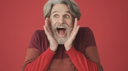 cavalheiro : Cheerful gray-haired bearded man in red sweater screaming surprisingly to the camera isolated over red wall