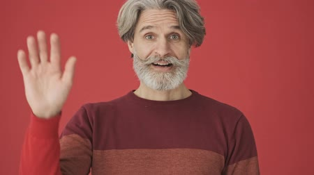 cavalheiro : Good-looking gray-haired bearded man in red sweater waving his hand while doing a hello gesture isolated over red wall Stock Footage