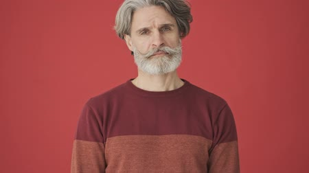 gentleman : Tired elder gray-haired bearded man in the red sweater is bored looking to the isolated over red wall